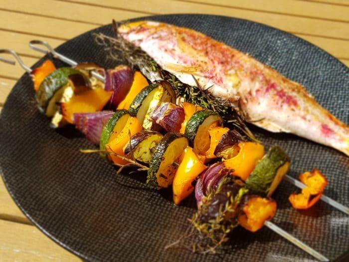 Ratatouille de légumes en brochette